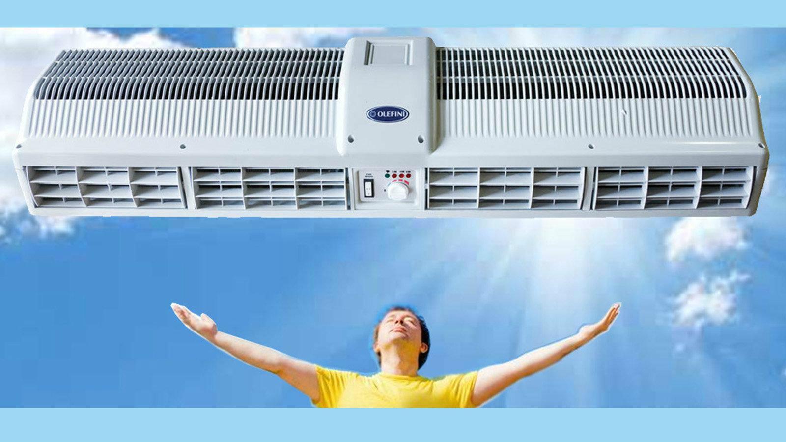 Οι αεροκουρτίνες OLEFINI ξεχωρίζουν για το λεπτό σχεδιασμό, την εύκολη τοποθέτηση, την υψηλή αντοχή και την ισχυρή ροή του αέρα που παρέχουν.